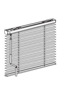 Horizontaljalousie aus Aluminium mit Kurbelbedienung