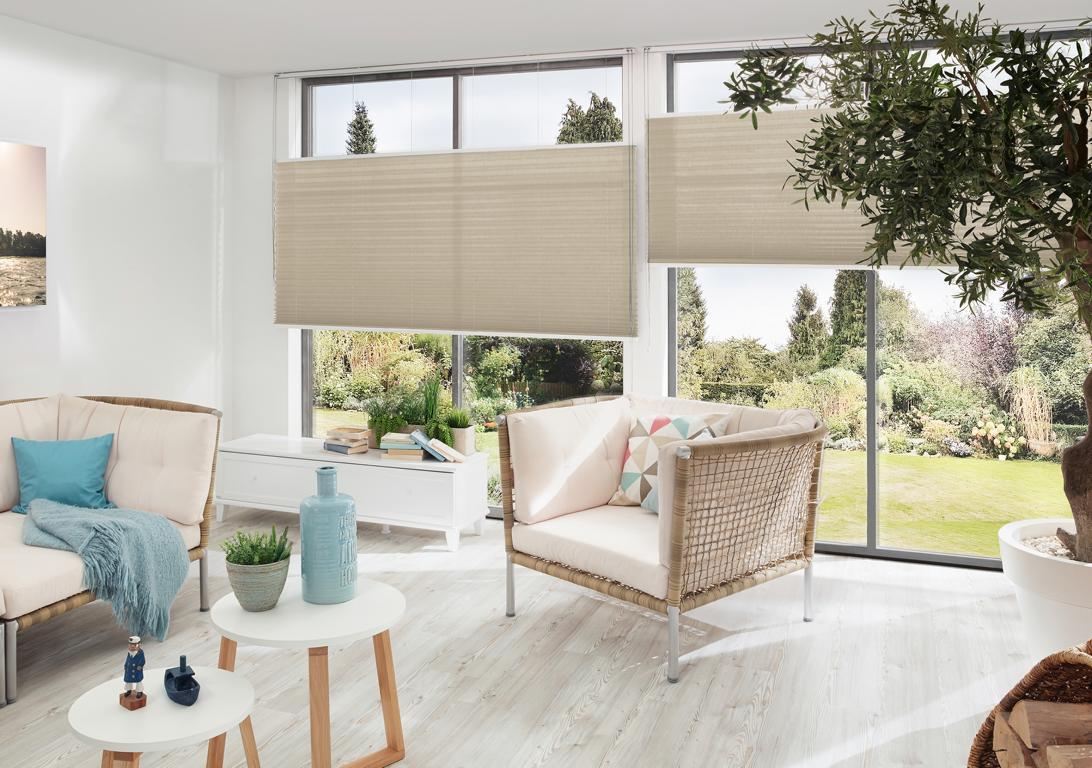 L-Plissee Erfal für große und höhe Fenster